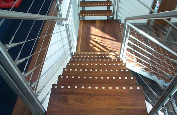 Walnut Stairs with Inlays